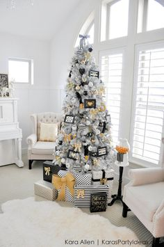 Gold, Black and White striped polka dot Modern Holiday Christmas Tree by Kara Allen | http://KarasPartyIdeas.com