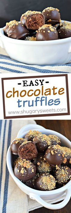 Rich and decadent, these truly are EASY Chocolate Truffles! Perfect for a delicious treat, or give as a gift. Sweet Desserts, Easy Desserts, Delicious Desserts, Delicious Chocolate, Fudge, Candy Recipes, Sweet Recipes, Dessert Recipes, Holiday Recipes