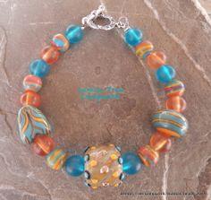 Lampwork bead bracelet. www.facebook.com/bubbasbeads