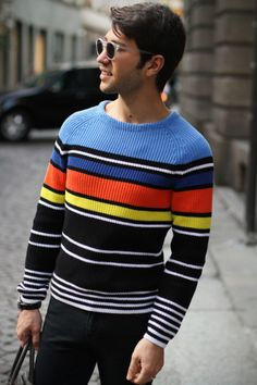 these colors are amazing //Men's fashion and style photos | Man fashion Men's Fashion, style, hot, hair style, man, street style, fashion, beau monde, shoes, pants, shirt, t-shirt, jacket, photo, amazing, riki, riekus raaths, stripes