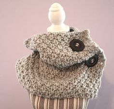 cowl , buttons, grey , scarf ,