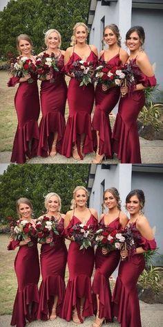 Dark Red Bridesmaid Dresses, Wine Color Bridesmaid Dress, Cheap Bridesmaid Dresses Online, Red Bridesmaids, Cheap Homecoming Dresses, Bridesmaid Gowns, The Dress, Akatsuki, High Low
