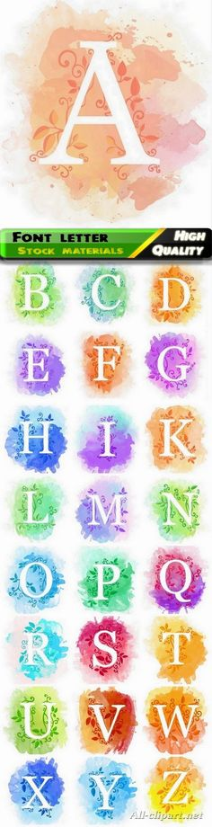 Font and alphabet letter on floral watercolor background 25 HQ Jpg