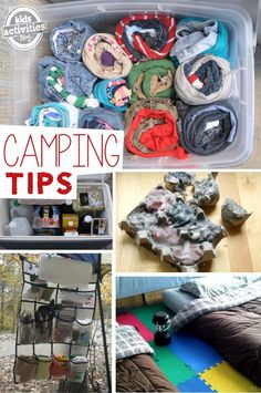 TONS of camping tips for families. Pack clothes in a roll.  We laid out a bottom, undies and a top and then rolled the outfit together.  Secure it with a rubber band and now the kids won't make a mess of their clothes as they grab the next day's outfit.