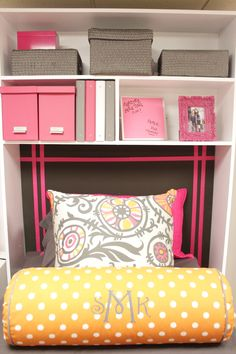 I like the top pillow and the color scheme, although I'm not really in to the monogrammed stuff. by DeeDeeBean Dorm Storage, Dorm Organization, Storage Boxes, Dorm Room Crafts, Cute Dorm Rooms, College Apartments, College Dorm Rooms, Ikea Dorm, Bed Ikea