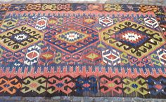 Vintage Traditional Turkish Kilim Rug Wool on Wool approximately 90 years old    The rug comes from West of Turkey, Denizli    HANDWOVEN USED NATURAL $925.00