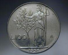 100 lire 1956 moneta rara Art Nouveau, Nostalgia, Coins, Old Things, Antiques, Creative, Hobby, Gelato, Aurora
