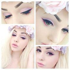 Soft pastels + strong eyeliner makeup