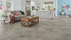 Karndean refresh their popular Knight Tile range Open Plan Living, Simply Beautiful, Slate, Knight, Tile, Kids Rugs, Flooring, How To Plan, Grey