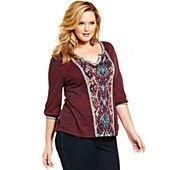 Lucky Brand Jeans Plus Size Top, Three-Quarter-Sleeve Ikat-Print
