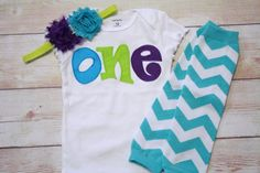 """Monsters Inc Inspired Birthday """"One"""" Outfit for Girls First Birthday - 1st Birthday Shirt - Aqua, Green and Purple - Matching Headband"""