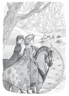 Anna and Elsa riding through the snow-lain forest.                                                                                                                                                                                 More