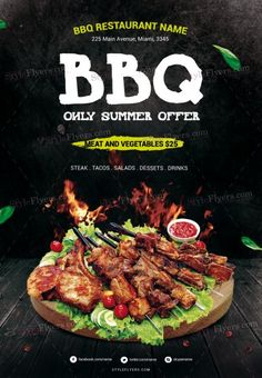 BBQ PSD Flyer Template and more than Premium PSD flyer templates for event, loud party or successfull business. Food Graphic Design, Food Menu Design, Food Poster Design, Web Design, Resturant Logo, Restaurant Poster, Malai Chicken, Flyer Design, Menu Flyer