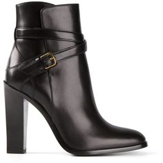 Saint Laurent Hunting 105 Ankle Boots (2,135 CAD) ❤ liked on Polyvore featuring shoes, boots, ankle booties, yves saint laurent, ankle boots, black, black bootie, black buckle boots, black high heel booties and high heel booties