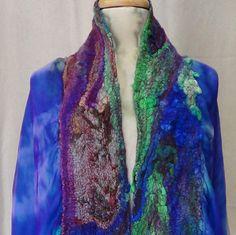 Felted cape, Vintage style ,women top,handmade scarf, USA, gypsy scarf, boho scarf,ocean colors scarf, fairy scarf, fashion tippet, wedding by rafaelart on Etsy