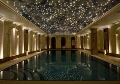 Fiber optic star ceiling over an indoor pool- good thinkin'!