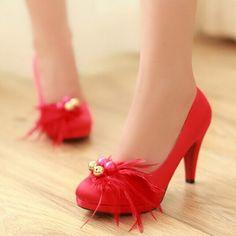 0988d97862c Pas cher Rouge noir feather party mode chaussures de mariage de mariée chaussures  femme à talons ...