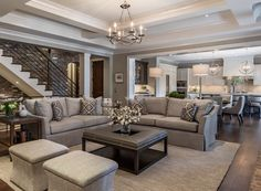 Modern Farmhouse Living Room with grey slipcovered sofas #RemodelingtheLivingRoom