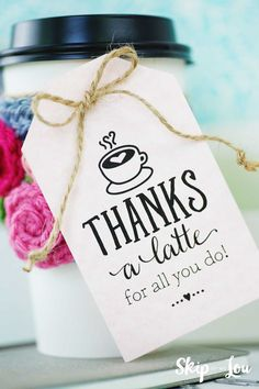 Crochet Coffee Sleeve thanks a latte gift tag attached to white take out cup<br> Thanks A Latte, Irish Cream, Simple Gifts, Easy Gifts, Teacher Appreciation Gifts, Teacher Gifts, Volunteer Appreciation, Crochet Coffee Cozy, Free Printable Gift Tags
