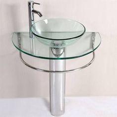 Kokols Modern Bathroom Vanity Pedestal Glass Bowl Vessel, Polished Chrome   Pedestal  Sinks   Wf