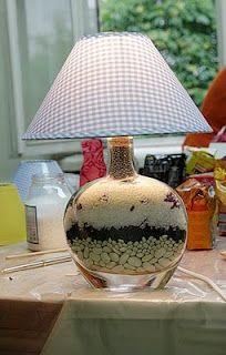 velador Home Design Decor, Lamp Design, Recycled Lamp, Bottle Cutting, Table Lamps For Bedroom, I Love Lamp, Decorated Jars, Crackle Glass, Liquor Bottles