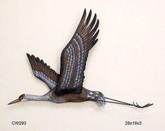 Sandhill Crane Flying Wall Sculpture