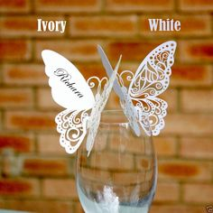 New Butterfly Place Cards for WeddingTable Settings White or Ivory Postage Free in Home, Furniture & DIY, Wedding Supplies, Cards & Invitations Butterfly Place, Butterfly Wedding, White Butterfly, Wedding Places, Wedding Place Cards, Butterfly Table Decorations, Cricut Wedding, Wedding Table Settings, Wedding Favours