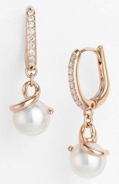 12ct Round Pearl Dangle earrings Rose gold plating Round Cz Party Bridal jewelry #Niki #DropDangle