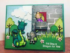 Super cute card design using MFT magical dragons stamp set