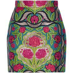 Gucci Metallic floral-jacquard mini skirt ($1,010) ❤ liked on Polyvore featuring skirts, mini skirts, bottoms, gucci, saia, embellished skirt, multi color skirt, short floral skirt, gucci skirt and colorful skirts