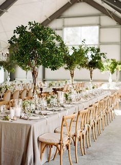 Garden Inspired Greenery Tall Wedding Centrepieces