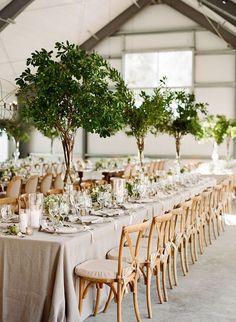 Garden Inspired Greenery Tall Wedding Centrepieces