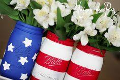 DIY American Flag Mason Jars