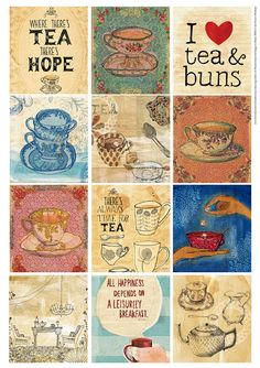 Tea Time Tags Digital Download Set of 12 by lovelysweetwilliam, $4.50