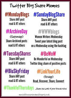 Share Hashtags For Each Day - Mom 'N Daughter Savings Business Stories, Blog Tips, Hashtags, Improve Yourself, Advice, Positivity, Social Media, Let It Be, How To Plan