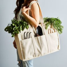 On-the-Go Style. The perfect tote for the person that does it all! With seven pockets, a roomy central compartment, and a key ring, you'll be toting this durable cotton carryall from the market to picnics to the campground. Next Bags, Utility Tote, Reusable Shopping Bags, Tote Bag, Satchel Bag, Fabric Bags, Learn To Sew, Cotton Bag, Purses And Bags