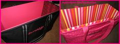 Cool idea for your Thirty-One Large Utility Totes!!! I just cut up a cardboard box, then used decorative duct tape (left), and gift wrap (right)!! I even saw someone use a plastic tablecloth! Now my totes stand up straight even when i have paper or bulky items!! LOVE IT!!