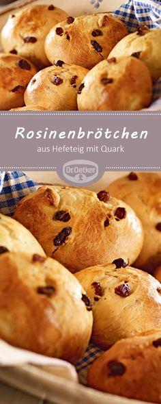 Rosinenbrötchen: Leckere Brötchen aus Hefeteig mit Quark und Rosinen