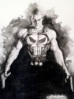 Punisher black & white art by Eric Meador (Marvel comics) Comic Book Artists, Comic Book Characters, Comic Book Heroes, Marvel Characters, Comic Artist, Comic Character, Comic Books Art, The Punisher, Punisher Logo