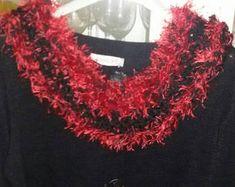Sciarpa rossa  scaldacollo scarf rosso  donna handmade regalo per lei