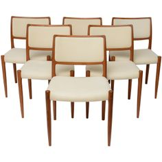 Six Danish Teak Dining Chairs - Neils Otto Moller | From a unique collection of antique and modern dining room chairs at http://www.1stdibs.com/furniture/seating/dining-room-chairs/