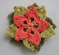 Pretty crocheted flower. Pattern and chart (scroll down a bit on the page): http://www.annettepetavy.com/pages/en/newsletter/201005.html
