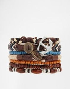 asos bracelet pack with beads and leather brown Scarf Jewelry, Jewellery, Mode Outfits, Asos, Beads, Bracelets, Stuff To Buy, Accessories, Brown Leather