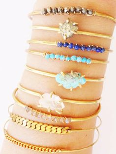 Love these tiny little bracelets. Such an amazing stack! They would add a great little pop of color to any outfit. Diy Jewelry, Jewelry Box, Jewelry Making, Handmade Jewelry, Jewlery, Other Accessories, Jewelry Accessories, Fashion Accessories, Fashion Jewelry