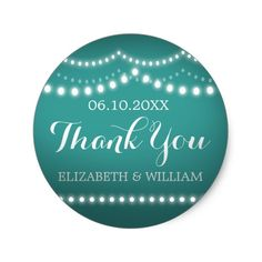 Thank You Sticker Teal White Bridal Wedding Lights Say THANK YOU with this sweet little sticker design: The art is sweet and fun, reminiscent of a warm summer night. The simple yet elegant design features a soft teal background, cursive and classic white text, and strands of pearly white and glowing lights. Customize everything from the color of the background to the color and style of the text. Add your own information, and presto: you're good to go. Go on and get your ducks in a row, check…