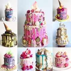 Beautiful colorful drip cakes