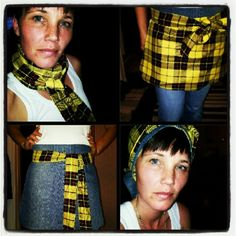Reversable apron, recycled old jeans.