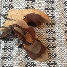 Brown wedges sz10 Cute brown suede material wedges Dollhouse Shoes