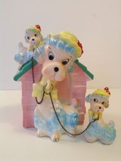 Vintage Poodle With Two Puppies and Doghouse Bank by SnickKnacks
