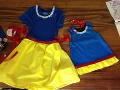 DIY mommy dress-up and toddler jumper she can also wear to school.  Walmart fitted t-shirt, cut off bottom. Gathered 1 yard of yellow for skirt and added red ribbon!